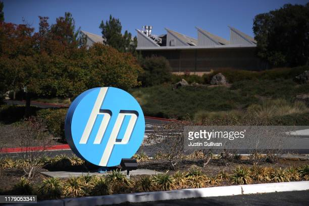 The Hewlett Packard logo is displayed in front of the office complex on October 04, 2019 in Palo Alto, California. HP announced plans to cut 7,000 to...
