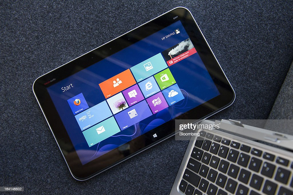The Hewlett-Packard Co. Envy x2 is displayed for a photograph in San Francisco, California, U.S., on Wednesday, March 13, 2013. The one-two punch of Apple's iPad and Microsoft's Windows 8 has led to a new class of personal-computer of hybrids that look and work like regular laptops, but whose screens pop off to become fully functional tablets. Photographer: David Paul Morris/Bloomberg via Getty Images