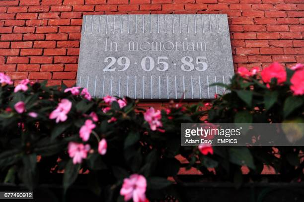 The Heysel disaster memorial plaque on the wall of the Koning Boudewijn Stadion