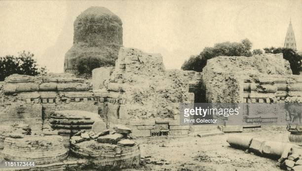 The Hidden Budhist City' View of ancient Buddhist monasteries and the Dhamekh Stupa at Sarnath in Uttar Pradesh India The stupa built in 500 AD is...