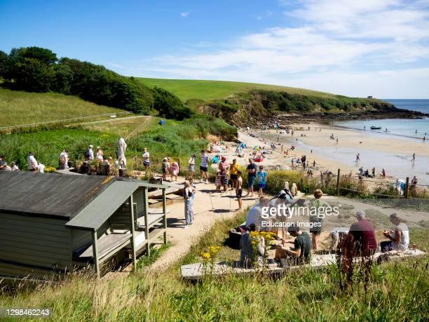 The Hidden Hut, beach cafe, Porthcurnick Beach, The Roseland Peninsula, Cornwall, UK.