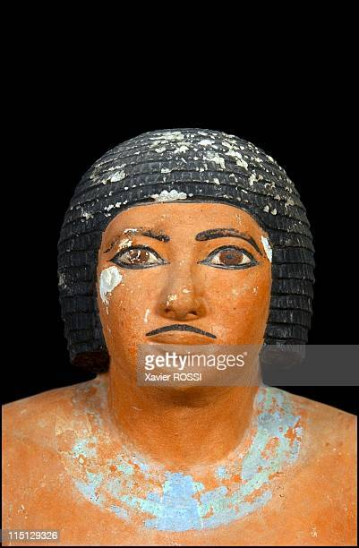 The hidden treasures of the Egyptian Museum of Cairo in Cairo Egypt in October 2002 Sitting scribe Ancient Empire Vth dynasty Painted limestone Found...