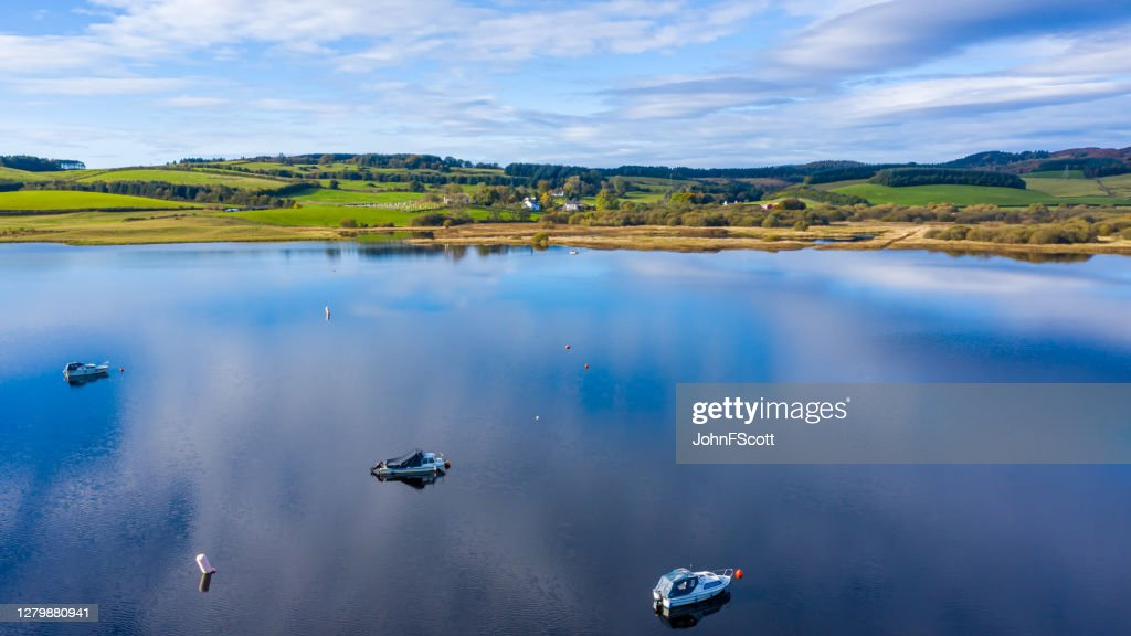 The high angle aerial view of a slow moving river in rural Dumfries and Galloway south west Scotland : Stock Photo