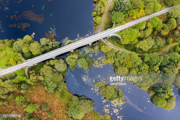 the high angle view looking down on a disused railway viaduct in rural scotland - johnfscott stock pictures, royalty-free photos & images
