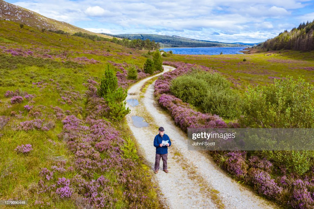 The high angle view of an active senior man looking at a map while standing on a dirt road in a remote part of Dumfries and Galloway, south west Scotland : Stock Photo