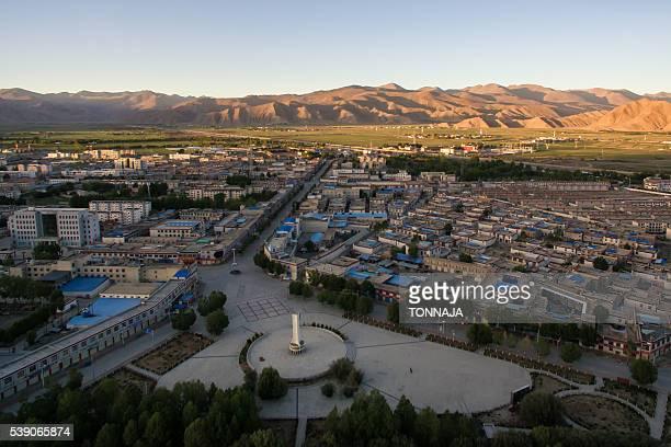 The high angle view of Gyantse City, Tibet, China
