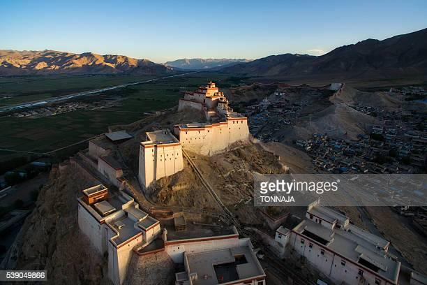 The high angle view of Gyantse Dzong, Tibet, China