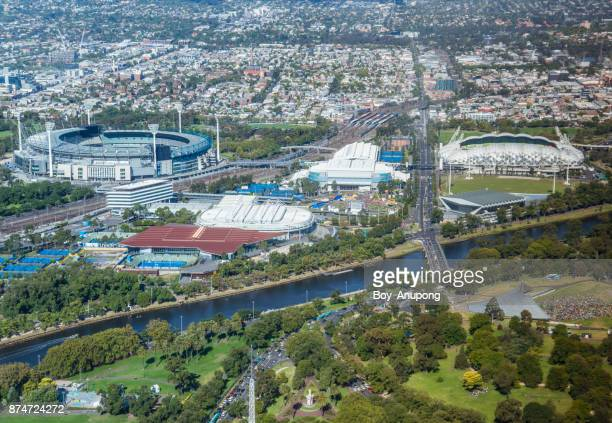 The high angle view of sport stadium area in Melbourne view from the top of Eureka tower the tallest building in town.