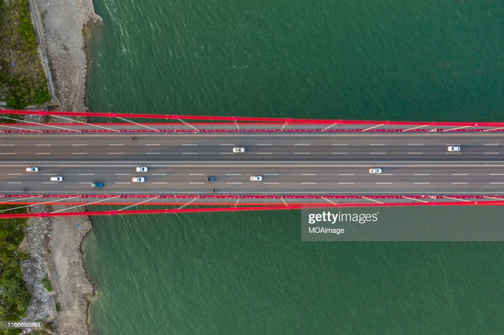 The high angle view of Wuhan Yangtze River Bridge,Wuhan,China : Stock Photo