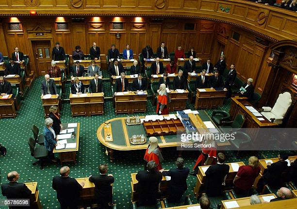 The High Court Judges leave the Debating Chamber at the Commission Opening of Parliament Wellington Monday