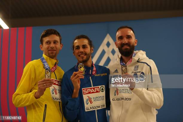 The High Jump Medalists pose during the European Athletics Indoor Championships Day Two at the Emirates Arena on March 02 2019 in Glasgow Scotland
