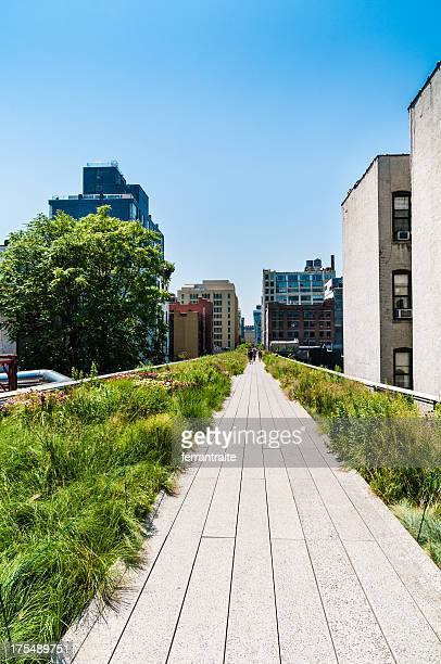 the high line park new york - chelsea new york stock photos and pictures