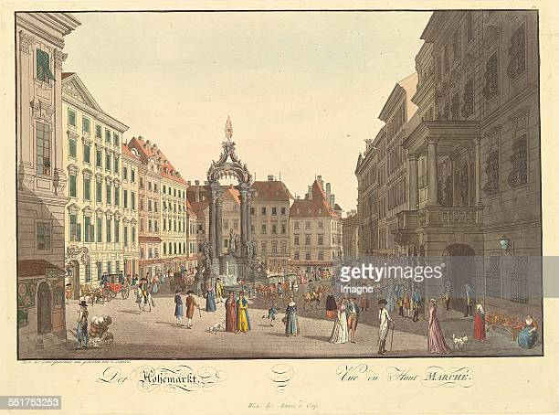 'The High Market' in Vienna 1793 Copper engraving and etching by Carl Schütz 1st etat of 2