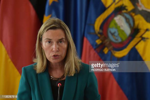 The High Representative of the European Union for Foreign Affairs and Security Policy Federica Mogherini speaks during the inauguration of the...