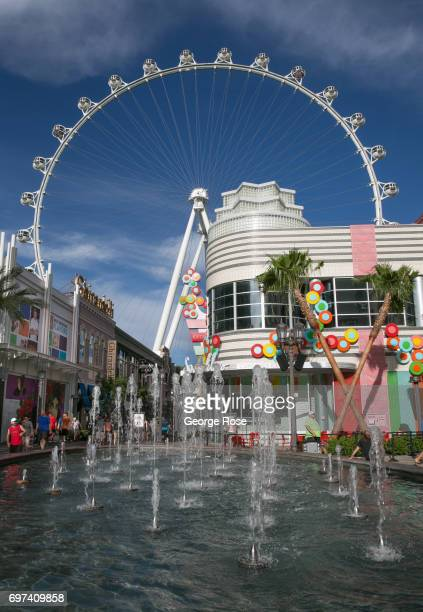 The High Roller observation Ferris wheel located between the Linq and Flamingo Hotels is viewed on May 29 2017 in Las Vegas Nevada Tourism in...