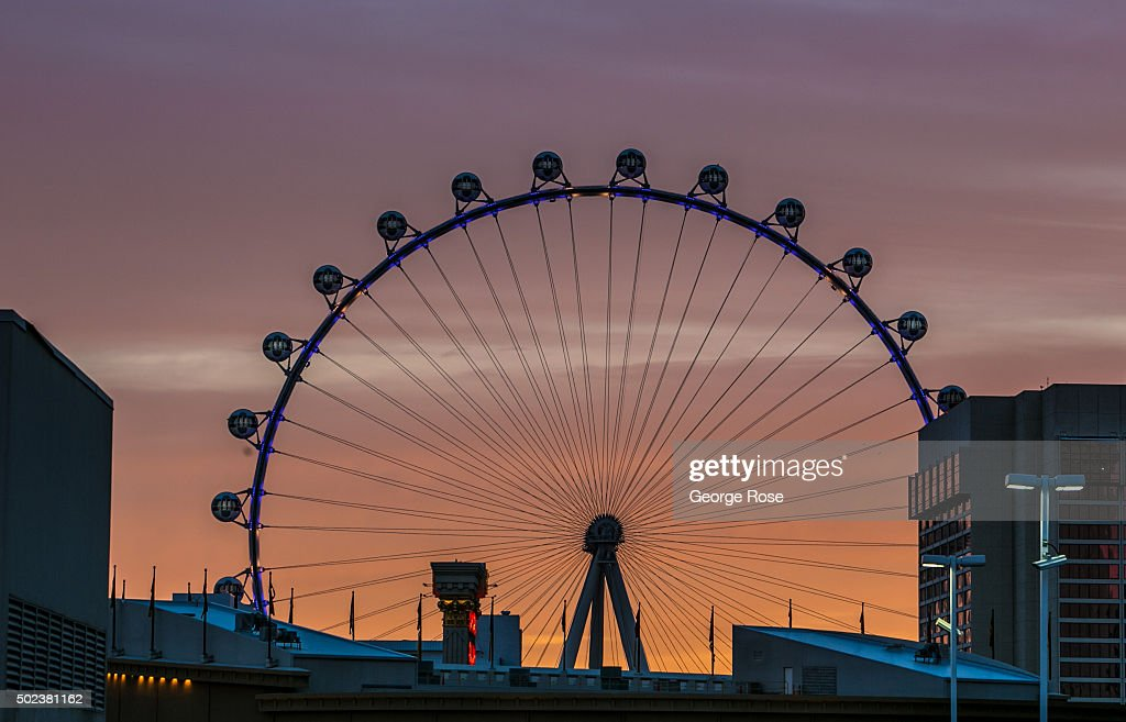 The High Roller, the world's tallest Ferris wheel, is viewed at sunrise on December 8, 2015 in Las Vegas, Nevada. Tourism in America's 'Sin City' has, within the past two years, made a significant comeback following the Great Recession, with visitors filling the hotels, restaurants, and casinos in record numbers.