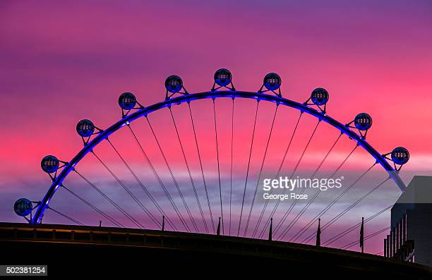 The High Roller the world's tallest Ferris wheel is viewed at sunrise on December 8 2015 in Las Vegas Nevada Tourism in America's 'Sin City' has...