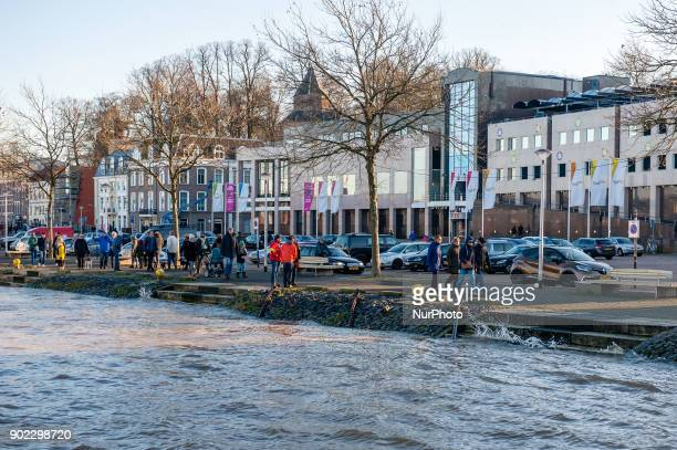 The high water level can be seen in the Waalkade river in Nijmegen The Netherlands on January 7 2018 after heavy rainfalls