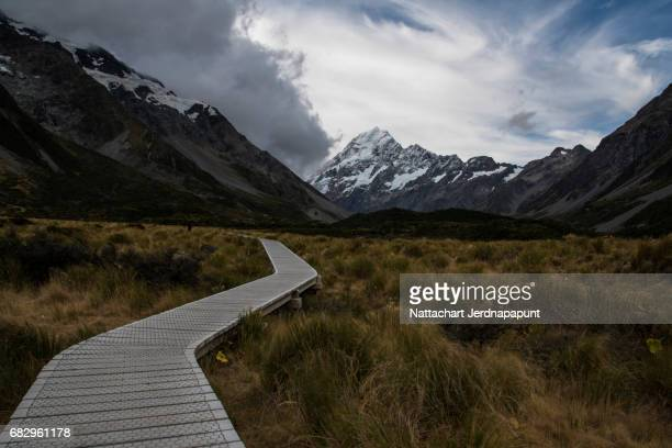 The highest peak in New zealand 'Mt. Cook' with walkway foreground