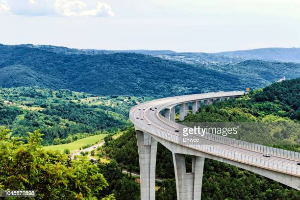 the highest viaduct highway in slovenia - eastern european stock pictures, royalty-free photos & images
