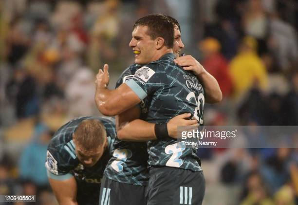 The Highlanders celebrate their win in the round 3 Super Rugby match between the Brumbies and the Highlanders at GIO Stadium on February 15, 2020 in...