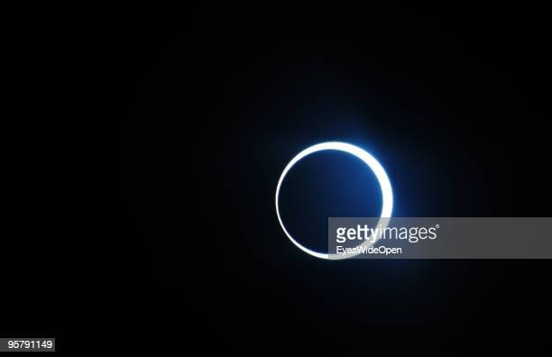 The highlight of the rare Annular Solar Eclipse at the central stadium on January 15, 2010 in Thiruvananthapuram , Kerala, South India.This rare...
