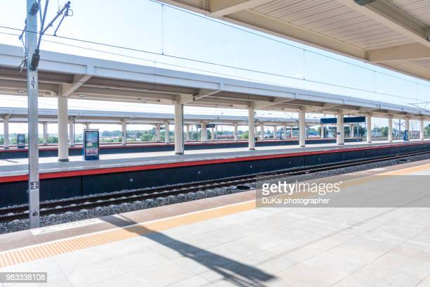 the high-speed rail - railroad station platform stock pictures, royalty-free photos & images