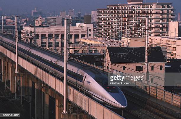 The highspeed Shinkansen 500 series Nozomi with a top speed of 300km/h leaves Osaka station on its way to Hakata on Kyushu island This train was...