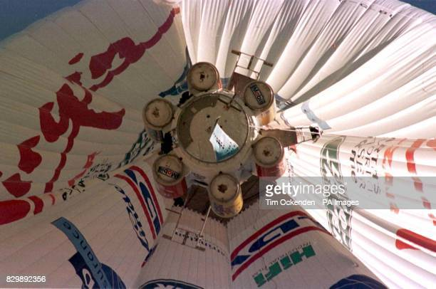 The high-tech capsule hanging beneath the Virgin balloon, is carried aloft into the jetstream above Marrakesh in Morocco after its successful launch...