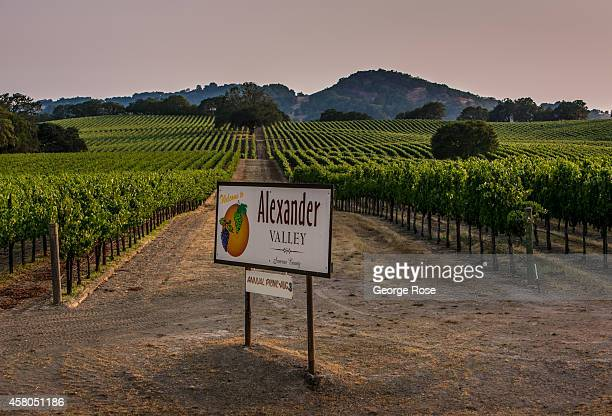 The Highway 128 entrance to Sonoma County's Alexander Valley is viewed on August 7 near Healdsburg California Hundreds of wineries and grape growers...