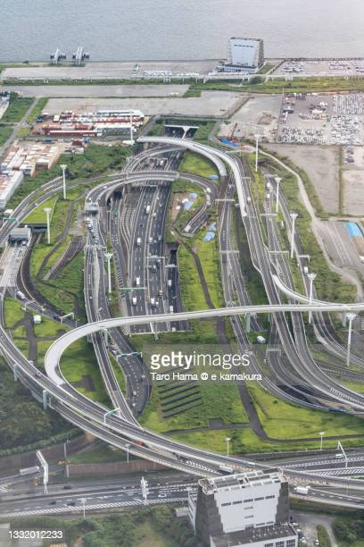 the highway junction in kawasaki city of japan aerial view from airplane - %e... ストックフォトと画像