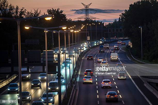 The highway through Berlin is captured during blue hour on August 17 2016 in Berlin Germany