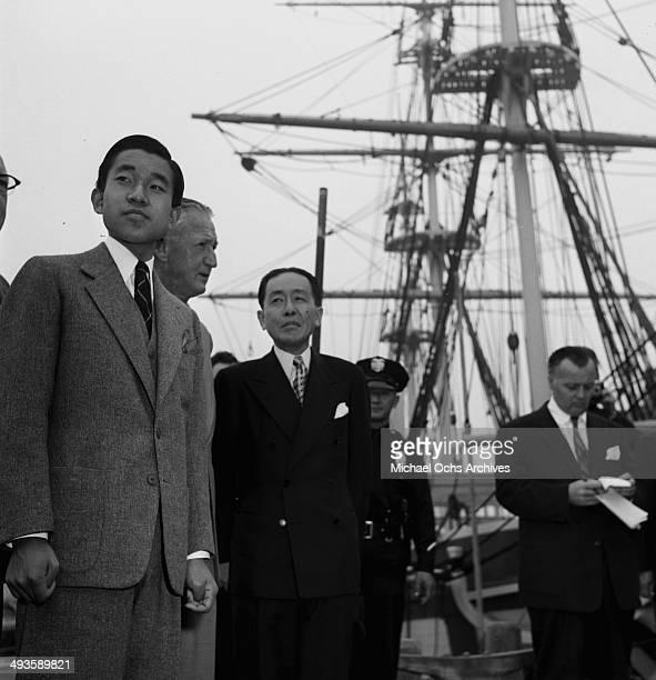 LOS ANGELES CALIFORNIA SEPTEMBER 30 1953 The HIH Crown Prince Akihito visit ships during the MGM party in Los Angeles California