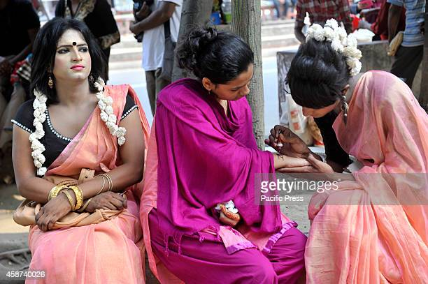 The hijra or gays paint their hands with henna The Bandhu Social Welfare Society organized the Hijra Pride 2014 a third sex parade aiming that the...