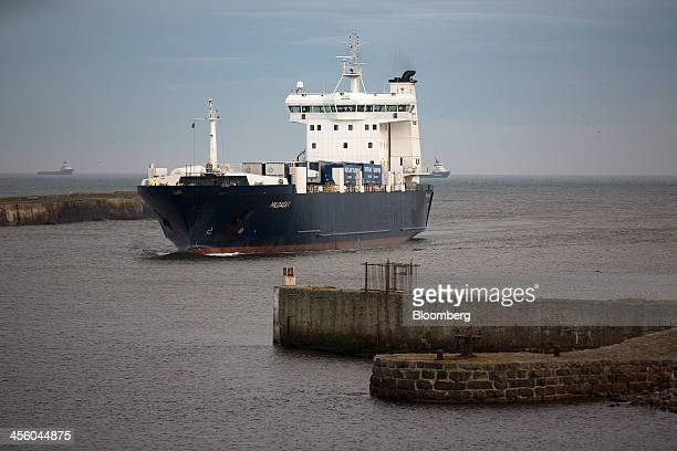 The Hildasay RoRo ferry operated by NorthLink Ferries Ltd enters Aberdeen Harbour operated by the Aberdeen Harbour Board from the North Sea in...