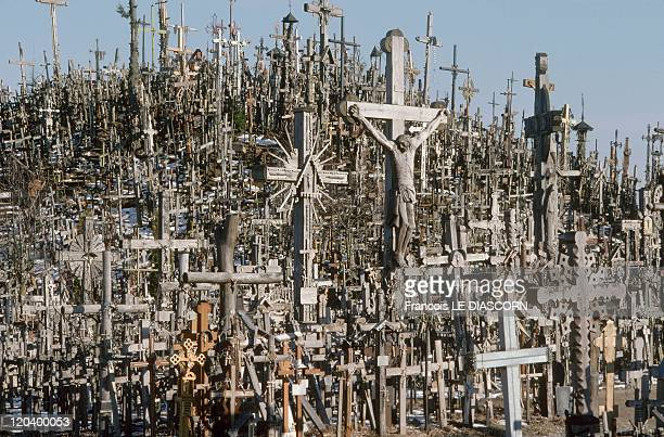 The Hill of Crosses in Siauliai Lithuania in April 1997