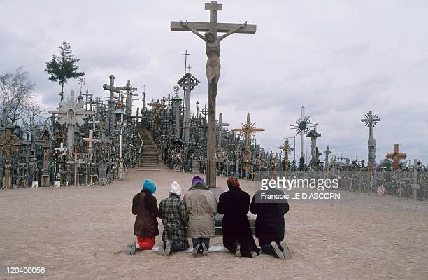 The Hill of Crosses in Siauliai, Lithuania in April, 1997.