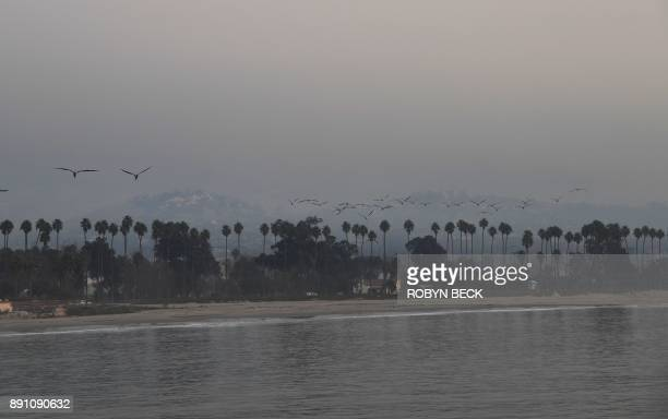 The hills above Santa Barbara are shrouded in smoke from the Thomas Fire December 12 2017 in Santa Barbara California The Thomas Fire now the fifth...
