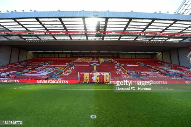 The Hillsborough Flag on the Kop Goal at Anfield on April 15, 2021 in Liverpool, England.