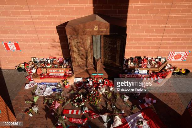 The Hillsborough Memorial at Anfield Stadium the home Liverpool Football Club during the coronavirus pandemic lockdown at Anfield on April 20 2020 in...