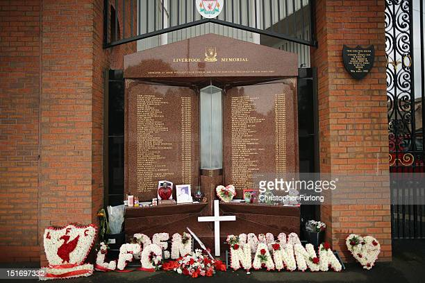 The Hillsborough memorial is covered with tributes at Anfield Stadium the home of Liverpool Football Club on September 10 2012 in Liverpool England...
