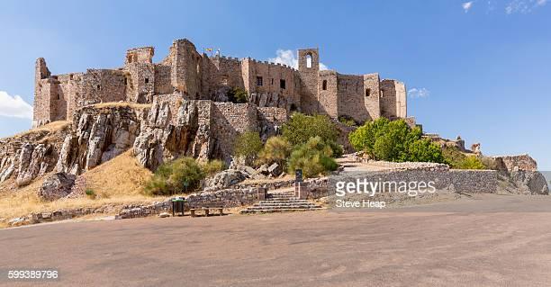 The hilltop castle fortress and old convent of Calatrava La Nueva near Ciudad Real, Castilla La Mancha, Spain