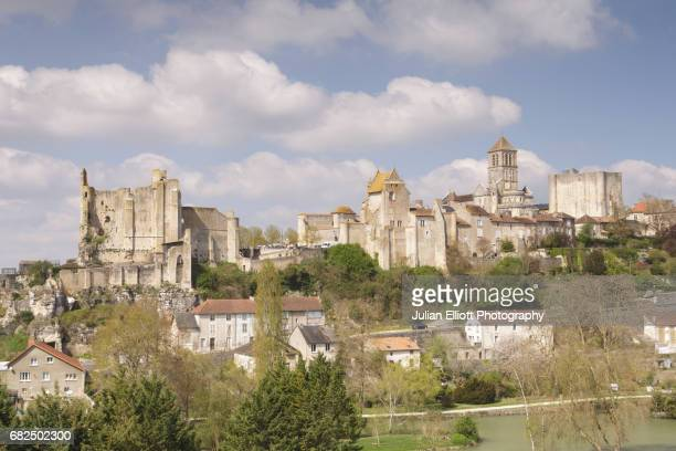 the hilltop town of chauvigny in france. - chauvigny stock pictures, royalty-free photos & images