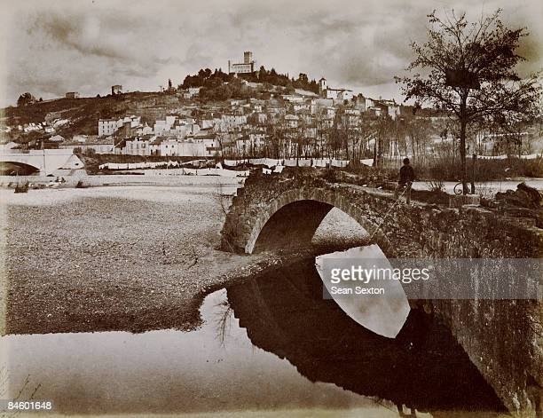 The hilltop town of VilleneuveLoubet in the AlpesMaritimes department of southern France circa 1900 A medieval fortress stands atop the hill