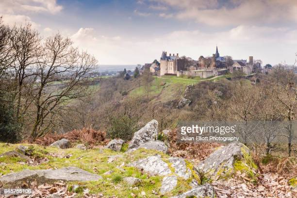 The hilltop village of Saint-Suzanne in the Mayenne area of France.