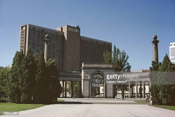The Hilton Hotel viewed from Denver Civic Center Denver Colorado circa 1962