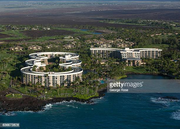 The Hilton Waikoloa Hotel and Village is viewed on December 16 in this aerial photo taken along the Kona Kohala Coast, Hawaii. Hawaii, the largest of...
