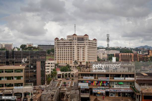 The Hilton Yaounde hotel, center, stands on the skyline in Yaounde, Cameroon, on Monday, June 4, 2018. Cameroon adjusted its 2018 budget to 4.69...