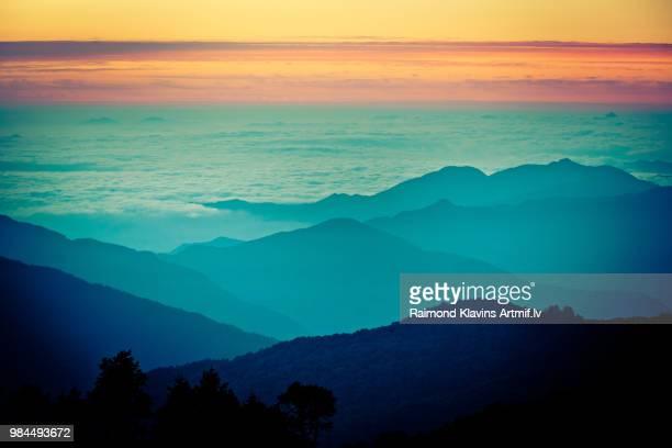 The Himalayas during sunrise.