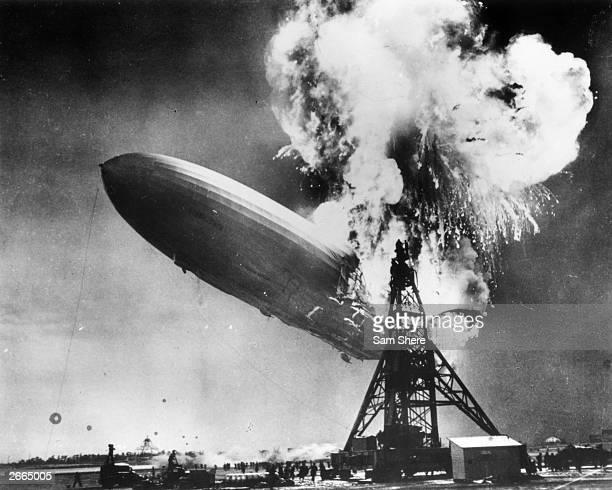 The Hindenburg disaster at Lakehurst New Jersey which marked the end of the era of passengercarrying airships